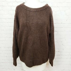 Max Studio Cozy Ribbed Puff Sleeve Sweater Brown